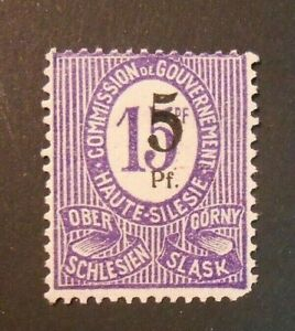 GERMANIA,GERMANY  Alta Slesia 1920 Cifra OVP 5pf su 15pf  MH* 10F Fehlaufdruck