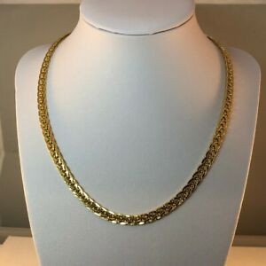 """18ct Gold Double Curb Chain Hollow  17.5""""  Width 5mm  Wt. 15.3grams   Secondhand"""