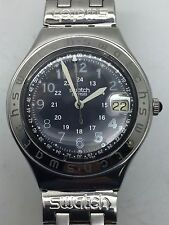 Mens SWATCH Irony AG 1993 Swiss Stainless Steel 37mm Date Military Watch --NR--