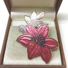 Vintage  Jewellery Lovely Signed Fish & Crown Cloisonne Enamel Flower Brooch Pin