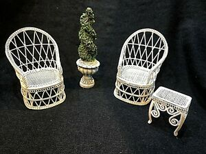 Dolls House 1/12 White Wire Garden or Conservatory Chairs Furniture and Topiary