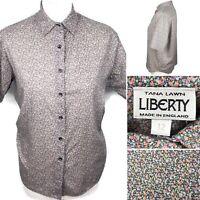 LIBERTY Tana Lawn Blouse Shirt Size UK 12 Vintage Women's Short Sleeve Top Retro