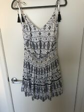WHBM Black/White Aztec Tiered Dress with Tassels at Straps - XL