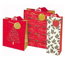 Set 3 Christmas Gift Bags with Tags - Medium, Small & Bottle Bag