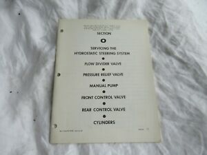 Case 1200 tractor hydrostatic drive control valves cylinders service manual