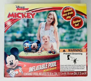 "Disney Junior Mickey Mouse Inflatable 36"" Baby Splash Swimming Pool Easy Drain"