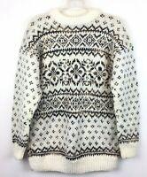 Chunky Knit Sweater Pullover Sz M Womens Fair Isle Acrylic Neutral Color EUC