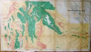 "Large Economic Map ""WYOMING, IDAHO & UTAH"" - Colored Lithograph - 1879"