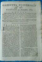 1802 'GAZZETTA UNIVERSALE' NOTIZIE DA TUTTO IL MONDO NAPOLEONE ROUEN GERMANIA...