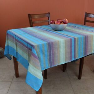 Striped Cotton Tablecloth Rectangular 60 x 90 inches Lightweight Red Blue Green
