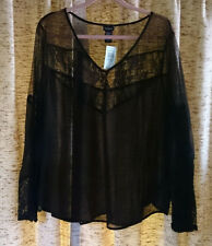 Torrid sexy black sheer chiffon and lace long sleeve top, Plus size 4X
