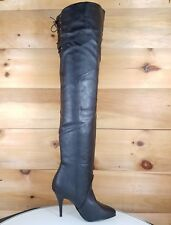 """Legend Black Leatherette OTK Thigh High Boot 4.25"""" High Heel Size 12 New In Box"""