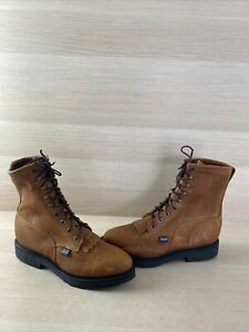 JUSTIN Conductor Brown Leather Lace Up Round Toe Work Boots Men's Size 10.5 D
