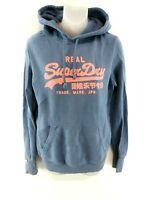 SUPERDRY Womens Hoodie Jumper M Medium Blue Cotton & Polyester