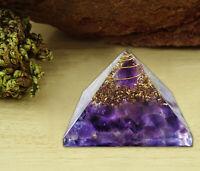 Orgone Pyramid Amethyst Crystal Energy Generator EMF Protection Reiki Crystal