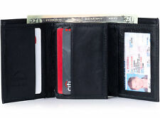 Alpine Swiss Mens Trifold Wallet Extra Capacity Multiple Card Slots 2 ID Windows