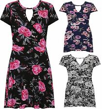 New Ladies Short Sleeve Floral Print Wrap over New Flared Swing Dress Women Tops