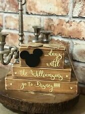 Luxury Personalised Days until disney countdown plaque blocks sign Rustic shabby