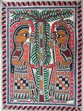 "ORIGINALE madhubani mithila DIPINTI ""Frutta Pickers's handmade indian Folk Art"