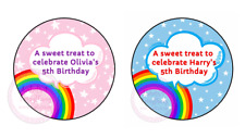 Personalised Rainbow Stars Birthday Thank You Party Stickers Sweet Cone Boy Girl