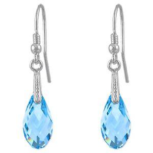 BOUCLES d'oreilles en Argent 925 rhodié et Cristal Swarovski© bleu