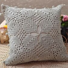 Again@ Country Style Hand Crochet Flower Orange Cotton Zipper Cushion Cover CL