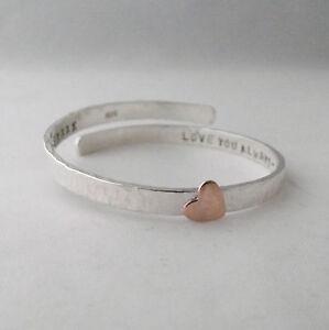 Silver Christening Bangle Sterling Silver 925 Handmade Copper Heart Adjustable