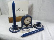 "Wedgwood "" Jasper Ware "" Portland Blue Dome Clock  &  matching C/Sticks, Superb."