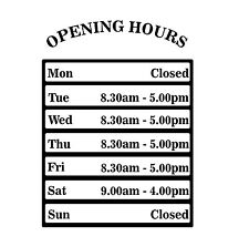 Opening Hours Times Sticker For Shops Pubs Clubs You Choose Hours and Colour OH5