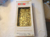 Vintage Gold Tinsel Christmas Tree Garland 25 Ft Long Tarnishproof Flameproof
