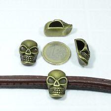 4 Abalorios T24 Para Cuero Media Caña 25x16mm Cobre Perles Pelle Leder Leather