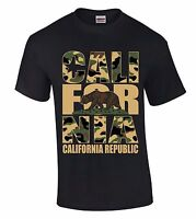 Cali For Nia Camouflage T-SHIRT California Republic Camo State Bear Retro Shirt