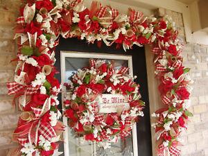 Be Mine Vintage Style Deco Mesh Wreath & 9' Garland Valentine's Decoration Decor