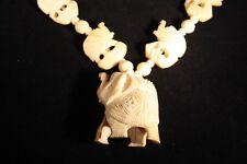 Vintage Carved Bovine Bone Bead Necklace Pendant Elephants