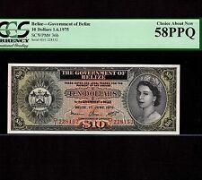 850Belize, 10 Dollars 1975, P-36b, PCGS AU 58 PPQ * Queen Elizabeth *