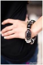 """""""Glaze Of Glory"""" Black Stretch Bangle Bracelet By Paparazzi"""
