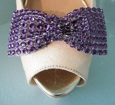 2 Purple Diamante Style Bow Clips for Shoes