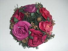 CORONA DI ROSE ROSSE - BASE CANDELE - diam. int. 3 cm/diam. est. 13 cm