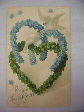 Vintage Embossed Valentine'S Postcard Doves Clover Heart & Flower Horseshoes1907