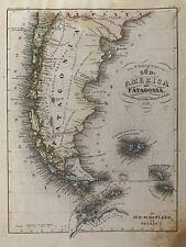 1851 PATAGONIA ORIGINAL ANTIQUE  HAND COLOURED ANTIQUE MAP BY JOSEPH MEYER