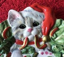 """8� Fitz & Floyd Christmas """"Kitty Kringle""""' Porcelain Platter Serving Plate"""