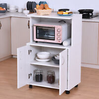 HOMCOM Rolling Kitchen Trolley Microwave Cart 2-Door Cabinet  Shelves White