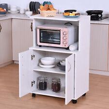 HOMCOM Rolling Kitchen Trolley Microwave Cart 2-Door Cabinet  Shelves White