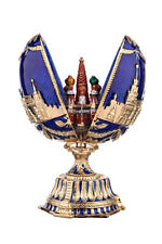 Russian Faberge Egg Moscow Kremlin & St-Basil's Cathedral 4.7'' (12cm) blue