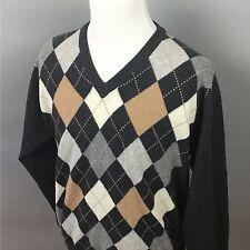 Gray And Tan Argyle Castle Of Ireland Lambswool Blend Sweater Medium M #F0044