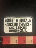 Vtg ROBERT W. BRITZ JR. AUCTION SERVICE DIVERNON ILLINOIS Advertising Patch S99D