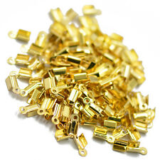 100pcs Ribbon Necklace Cord Crimp Ends Clamps Tips Bead Cap Gold Findings