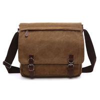 Men's Vintage Cross Body Shoulder School Laptop travel Canvas Satchel Bag New