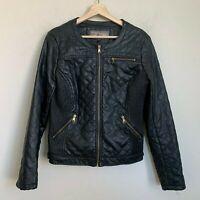 Ci Sono by Cavalini Biker Moto Zip Jacket Faux Black Leather Pockets Lined Sz L