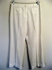 J JILL Classic White Linen Casual Pants Lined 2 Key Pockets Free Shipping 14P